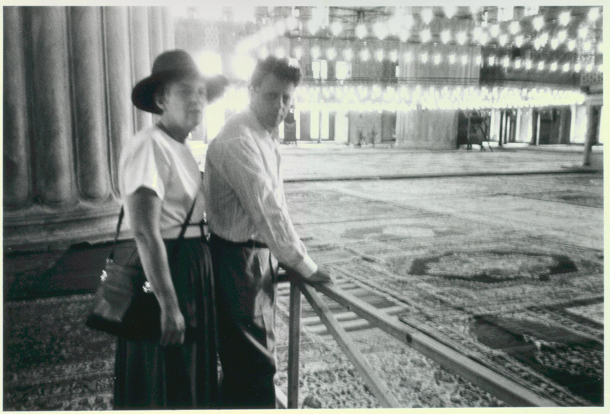 Turkey Hagia Sophia, interior shot, Philip Glass and sister, 1990
