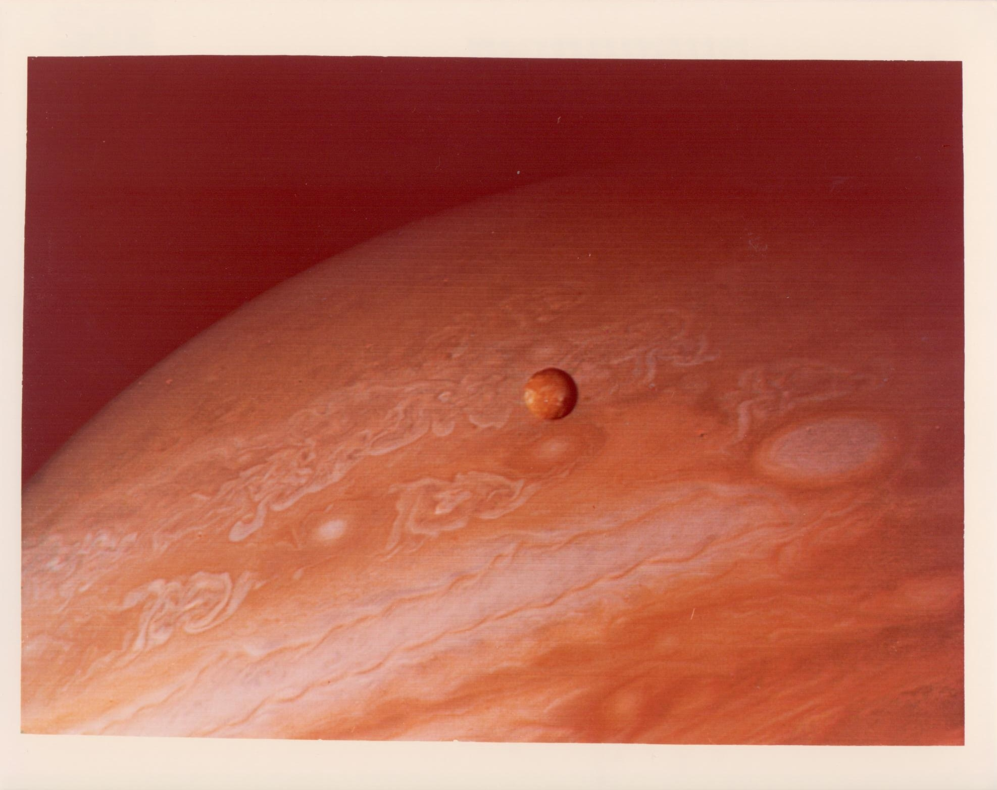 Jupiter and its satellite Io, Voyager 2, June 1979
