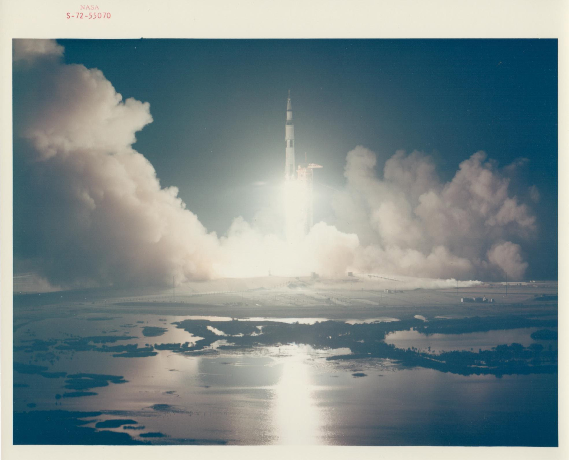 Liftoff of the last lunar mission, Apollo 17, December 1972
