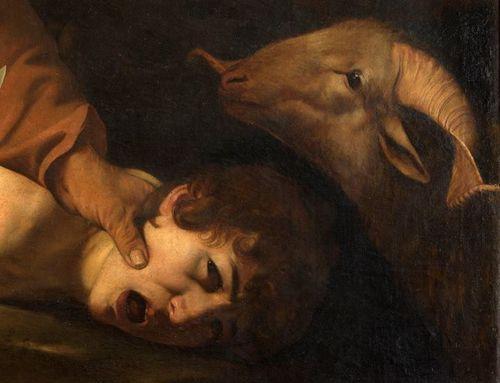 Caravaggio, Sacrifice of Isaac, 1603, detail