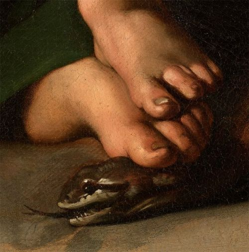 "Detail from Caravaggio's ""Madonna with the Serpent""."