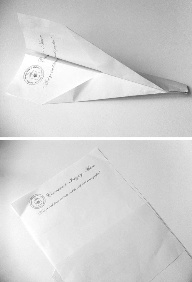 Alejandro Vidal, Any idea that can be defended is presumed guilty, paper plane folded with CIA original letter office paper, 2011. Courtesy of the artist and Bucharest Biennale.