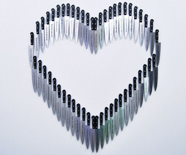 Carlos Aires - How deep is your love, stainless steel knifes engraved with titles of love songs, dimensions variable, 2011.