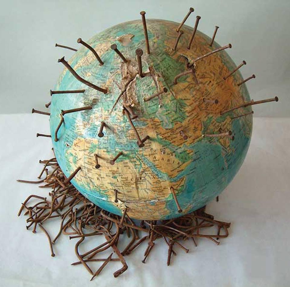 Marilena Preda-Sânc (RO), Globe, object, world globe, nails, 35 x 35 x 35 cm, 1999. Courtesy of the artist and Bucharest Biennale.