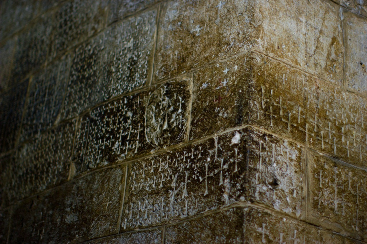 Crusaders graffiti in the Church of the Holy Sepulchre. 11-13th century AD. Israel