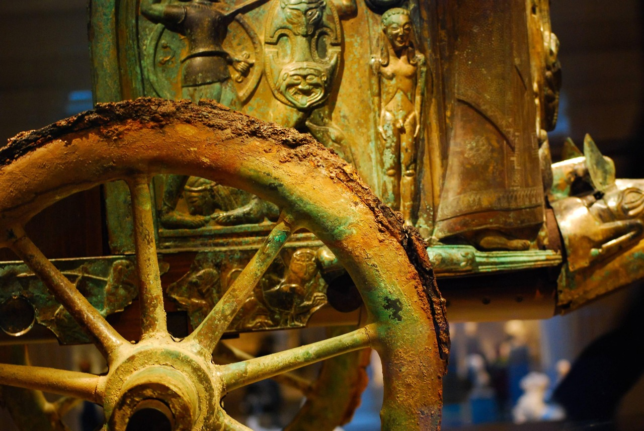 Detail of the the best-preserved and most complete ancient chariot- Etruscan Monteleone chariot. c. 530 BC Italy.