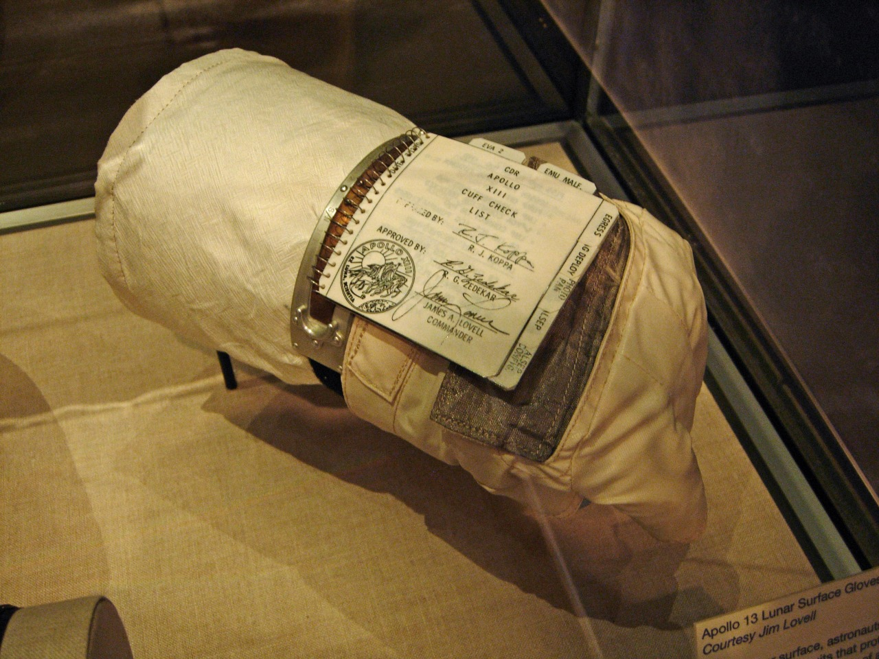 Jim Lovell's glove (with attached checklist) from the ill-fated Apollo 13 mission