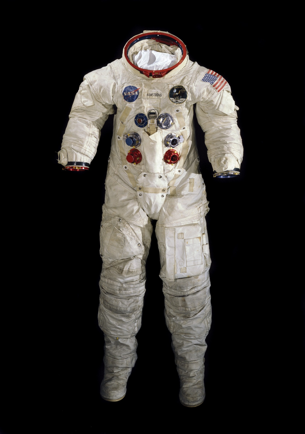 Neil Armstrong's spacesuit worn on the Apollo 11 mission, which landed the first man on the moon on July 20, 1969