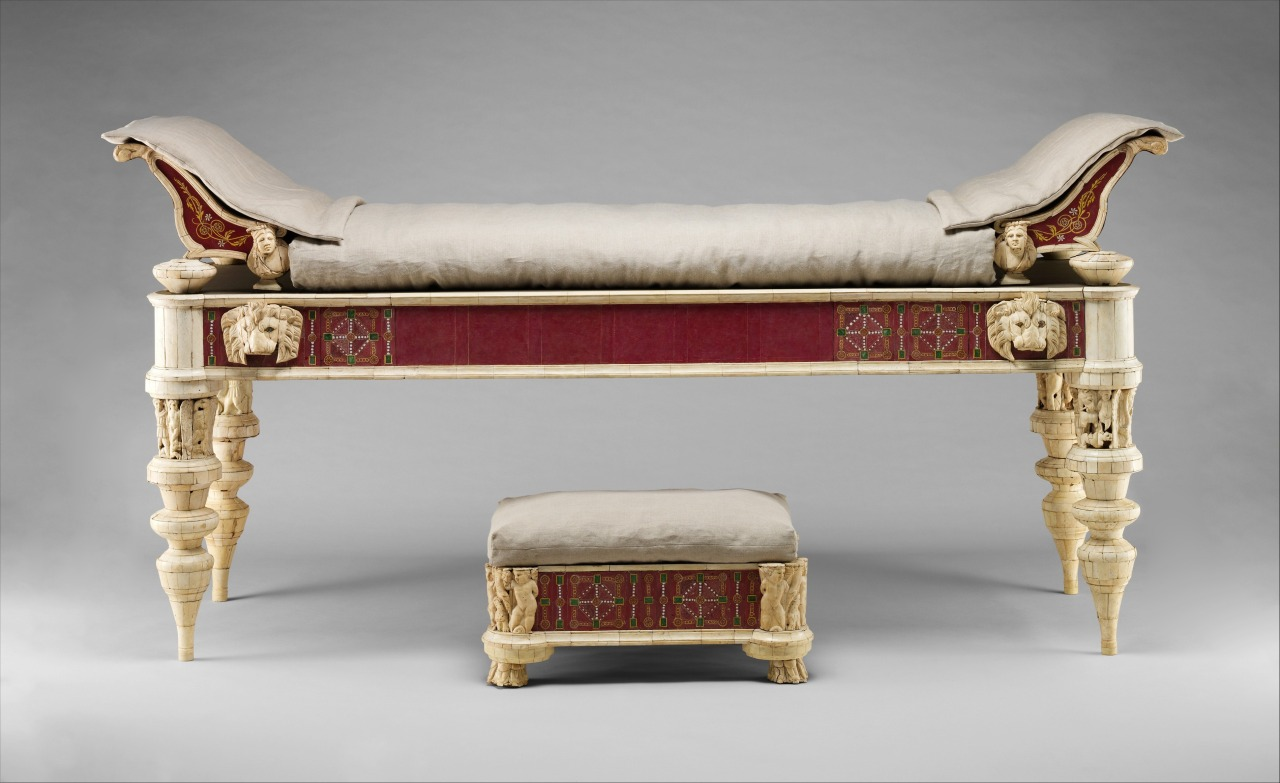 Roman couch and footstool with bone carvings and glass inlays, 2000 years old.