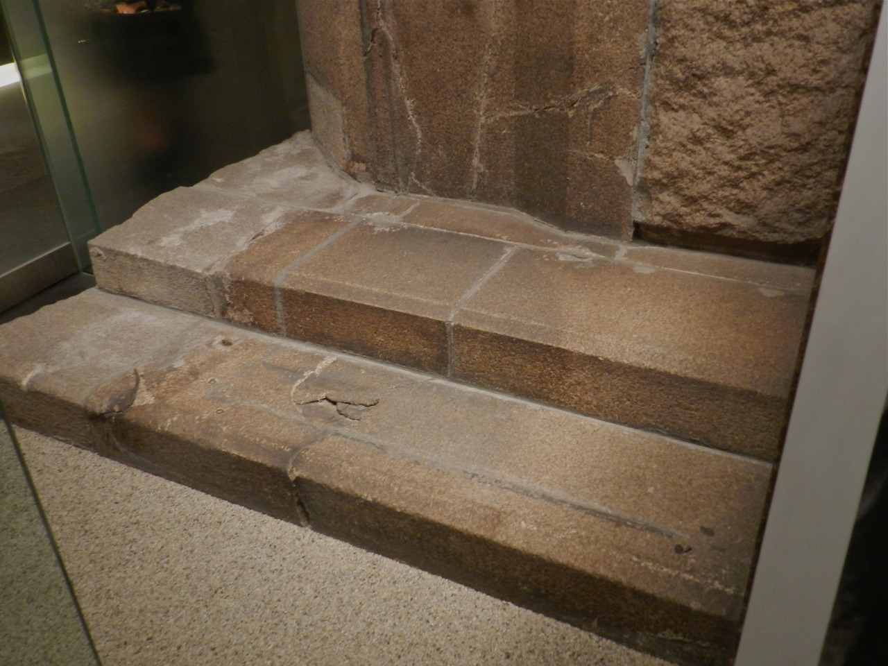Shadow of someone sitting on a stair. Seconds after A-bomb exploded many Japanese vaporized and left only a shadow. Hiroshima Museum